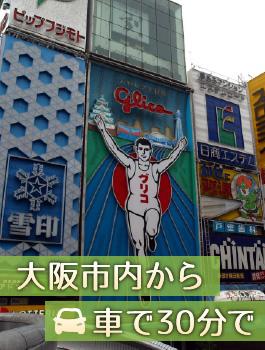 大阪市内から車で30分で