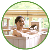 お部屋の露天風呂は温水を利用