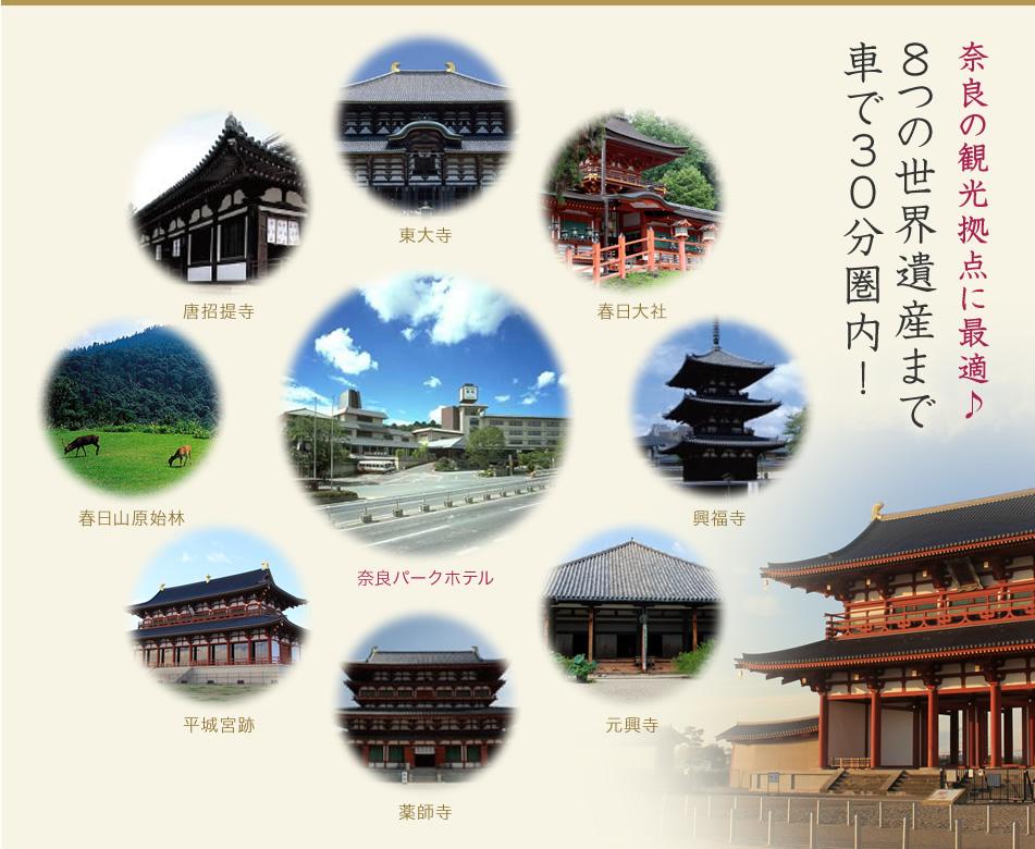 奈良の観光拠点に最適♪8つの世界遺産まで車で30分圏内!